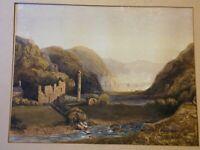 Lovely Antique Ireland Watercolour Painting Ruins Etc Glendalough Irish scene AF