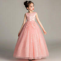 Flower Girl Tulle Tutu Maxi Dress Pageant Princess Wedding Bridesmaid Gown Party