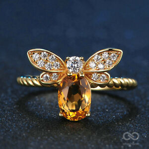 Bee Natural Oval Citrine 925 Sterling Silver Resizable Ring with 14K Gold Plated