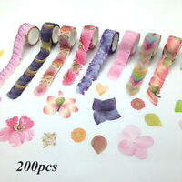 200PCS Masking Scrapbook Sticker Sticky Paper Flower Petals Tape Washi Tape Roll