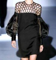 $2,850 Gucci Honeycomb Tulle Silk Gazar Black Cocktail Runway Dress US 2 / IT 38