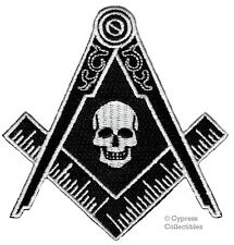 MASONIC SKULL PATCH EMBROIDERED IRON-ON LOGO Mason Freemason SQUARE COMPASS new