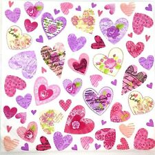 3 x Single Paper Napkins For Decoupage Craft Tissue Pink Hearts M108