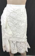 Oscar de la Renta Tiered White Lace Pencil Skirt New $2590 Sz 8 Ruffle Trim