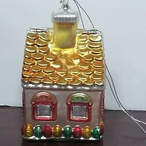 "Department 56 Large 8"" Gingerbread House Christmas Ornament - Handblown Glass"