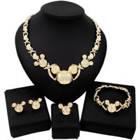 #75 HUGS & KISSES Teddy Bear Set Necklace bracelet Earrings Ring Real gold...