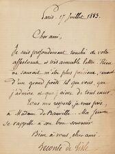 Charles LECONTE DE LISLE. Lettre autographe signée à Théodore de BANVILLE. 1883