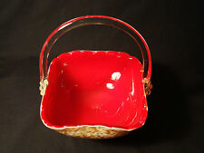 "Signed Venetian Murano Glass Red Cased & Embedded Gold Basket 8""h"