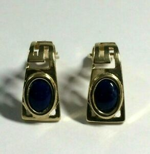 14 CT YELLOW GOLD GRECIAN KEY BLUE STONE. CLIP ON EARRINGS.  4.30.GRAMS