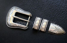 "WESTERN ANTIQUE ROPE EDGE ENGRAVED 4 piece BELT BUCKLE SET FIT 1"" wide strap"