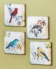 4-Pc Botanical Birds Canvas Wall Art  Spring Bird On Branch Nature Lovers Decor