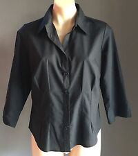 Pre-owned Classic Black MARKS & SPENCER 3/4 Sleeve Fitted Shirt Size Petite 16