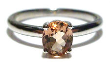 18K WHITE GOLD .62CT OVAL FACETED MORGANITE ESTATE WOMENS RING BAND SIZE 7
