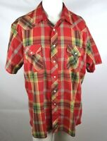 Rustler X-Long Tails Pearl Snap Cowboy Western Shirt Mens Size XL Red Plaid