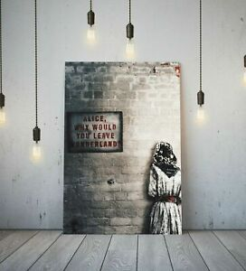 BANKSY ALICE OUT OF WONDERLAND 20X30 INCH FRAMED CANVAS ART WALL HANGING DECOR