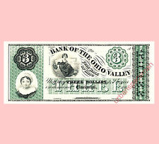 ABNC Proof Print - $3 Bank of the Ohio Valley obsolete banknote