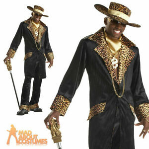 Supa Mac Daddy Pimp Costume Mens 70s Fancy Dress Leopard Print Gangster SIZE LRG