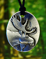 Moose Pendant | Moose Necklace | Moose Jewelry Made in Fine Pewter in USA