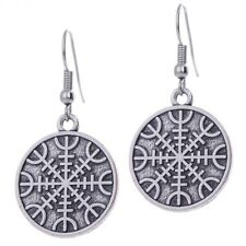 Viking Helm of Awe Earrings with Double Sided charm