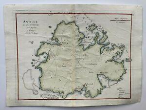 ANTIGUA 1746 by LE ROUGE ANTIQUE COPPER ENGRAVED MAP 18e CENTURY