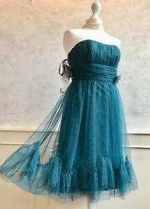 NEW+TAGS- ALFRED ANGELO Teal Blue Pacific Chiffon Prom Vintage Dress 10 RRP £159