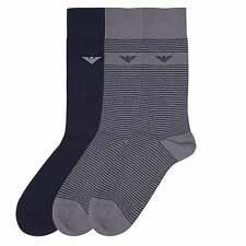 Emporio Armani 3 Pack Stretch Cotton Logo Socks, Navy / Grey Stripe
