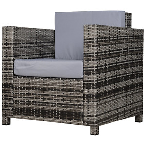 Grey Rattan Armchair Wicker Garden Chair Cushion Deck Outdoor Patio Furniture