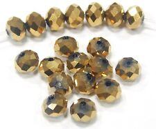 20 Glasperlen Fire-Polished 8mm Gold Braun Tschechische Kristall Perlen BEST X51