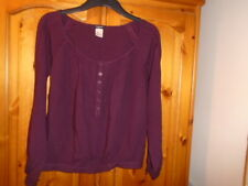 Pretty blackcurrant purple waist length top, long sleeves, LA REDOUTE, size 10