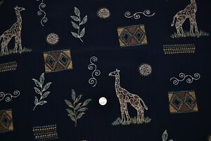"Cotton apparel fabric 58"" x 2.75 yards, giraffe & geometric print on black"