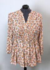 $89 NWT Melissa McCarthy Seven7 2X / 22W Peach Brown Floral Pintuck Shirt Plus