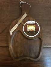 VINTAGE 1970s FIREPLACE CHEESE BOARD & KNIFE SET Never Used Wood w/ Ceramic Tile