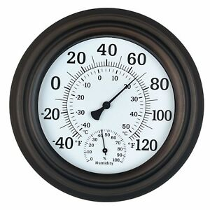 """Thermometer Hygrometer Indoor Outdoor Patio Wall Decor Porch Gift 8"""" Bronze New"""
