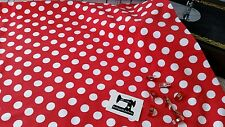 50cm red and white polka dot spots cotton lycra 95/5 fabric 4 way stretch