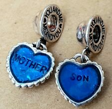Mother Son You & Me Blue Hearts Pair European Bead Charms MOTHER'S DAY GIFT Set