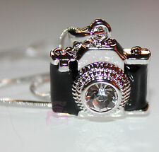 Black Enamel Miniature Camera Charm Clear Crystal Lens Photo Silver Necklace