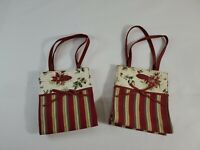 Longaberger Striped Canvas Tote Lunch Bag Carry Christmas Floral Print Lot of 2