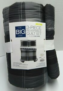The Big One Quilt Set Black / Gray Plaid Reversible Twin / Twin XL Or King