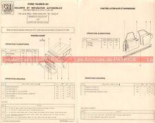 FORD Taunus 80 - 1981 : Fiche des Temps Auto Carrosserie / Peinture