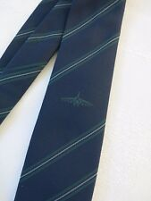 Vintage Navy Tie with Airplane Logo & Thin Green Stripes.