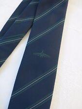 Vintage Azul Marino Corbata con el logotipo de avión & finas rayas verdes.