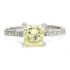 Fancy Yellow Princess Diamond Vintage Style Engagement Ring w/ Accents 2.18ctw