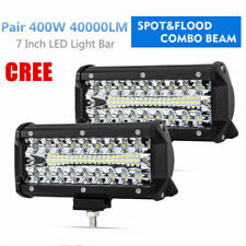 2x 7inch 400W LED Work Lights Pods Spot Flood Driving Fog Lamp 4WD Side Shooter