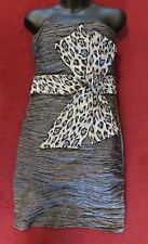 Grey crinkly  Bodycon Dress with large animal print bow Pink Boom - UK 12