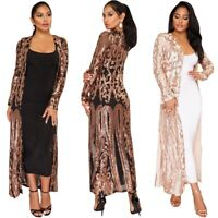 Women's Sequin Perspective Cardigan Robe Embellished Maxi Sweater Long Sleeve