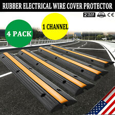 4-pack 1 Channel Rubber Cable Protector Ramp - Safety Electrical Wire Cover