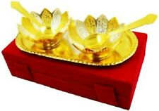 Brass Religious Floral Shaped Set of 2 Brass Bowls Diwali  Puja Gift Decorative