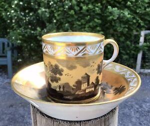 Paris Porcelain Empire Cup & Saucer Chanou? Halley? Landscape Litron C1800-1820