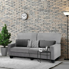 Sofa Couch Loveseat Tufted Upholstered Square Armrest Deluxe Home Furniture Gray