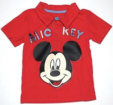 Infant Boys' DISNEY BABY Mickey Mouse Polo Shirt 24 Months Red Applique Tee